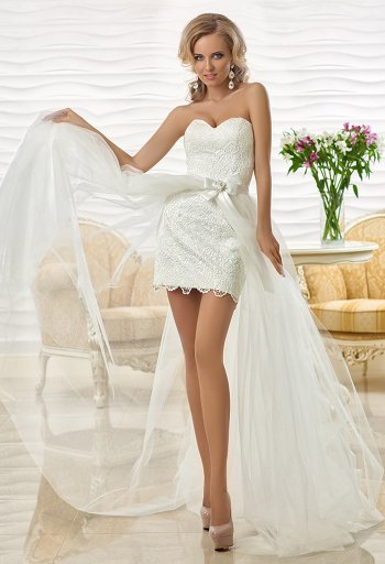 Свадебные платья со шлейфом коротким