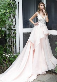 Blush Embroidered Bodice Wedding Gown JB65929