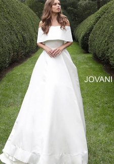 Off White Off the Shoulder Silk Wedding Gown S68287