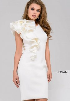 Ivory Fitted Scuba Short Dress with Ruffle 48053
