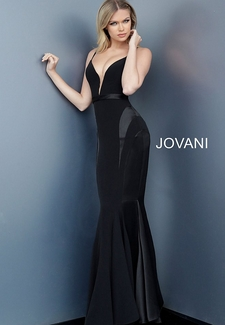 Black Plunging Neckline Fitted Evening Dress 68012