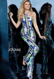 Multi Color Sequin Sleeveless Evening Jumpsuit 1194